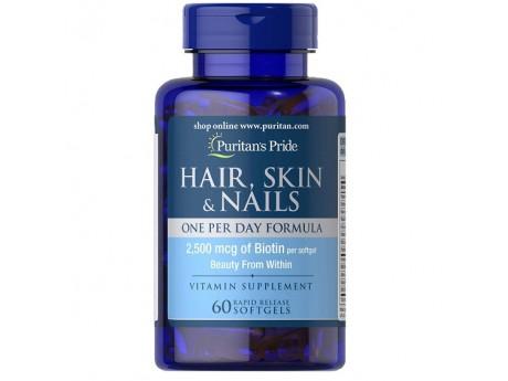Hair, Skin & Nails + 2500 мг Биотина (60 капсул)