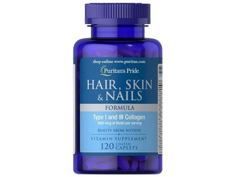 Hair Skin Nails Formula с Коллагеном 1 и 3 типа (120 таблеток)