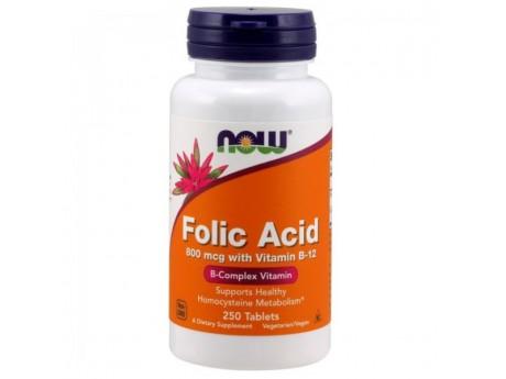 Folic Acid и B12 800 мкг Now Foods (250 таблеток)